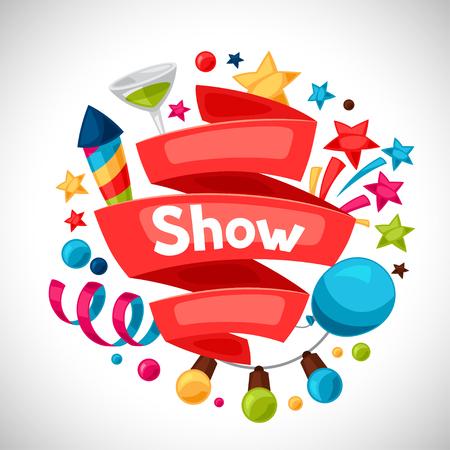 Carnaval-show en feest wenskaart met viering voorwerpen. Stock Illustratie