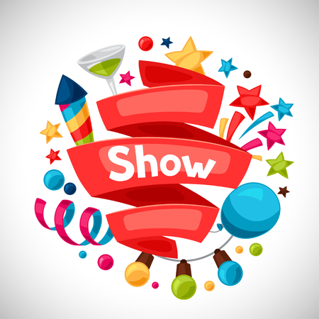Karneval-Show und Party-Grußkarte mit Feier Objekte.