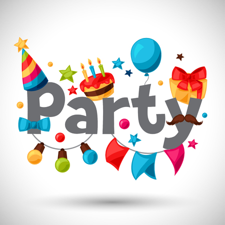 Carnival show and party greeting card with celebration objects. 일러스트