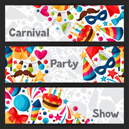 celebration party: Carnival show and party banners with celebration objects.