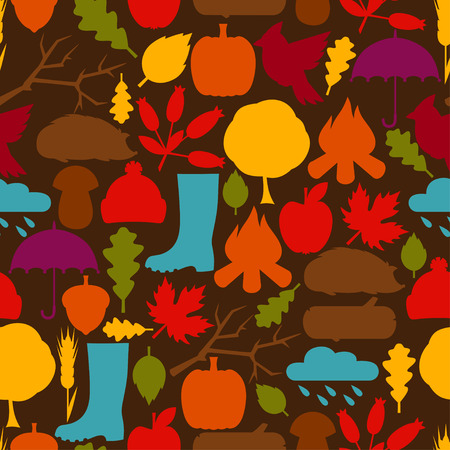 rain cartoon: Seamless pattern with autumn icons and objects. Illustration