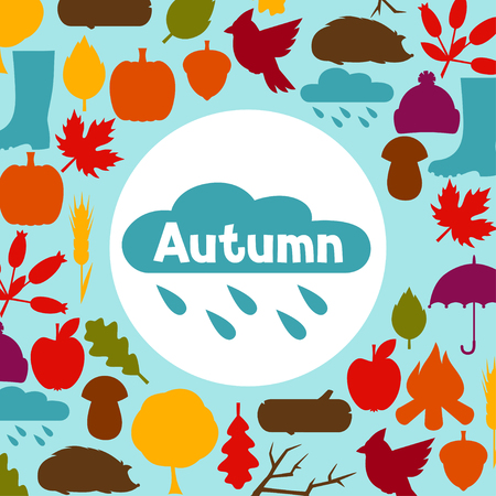 design objects: Background design with autumn icons and objects.