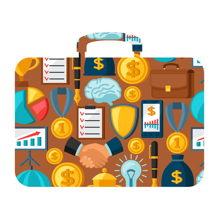briefcase: Business and finance concept from icons in shape of briefcase. Illustration