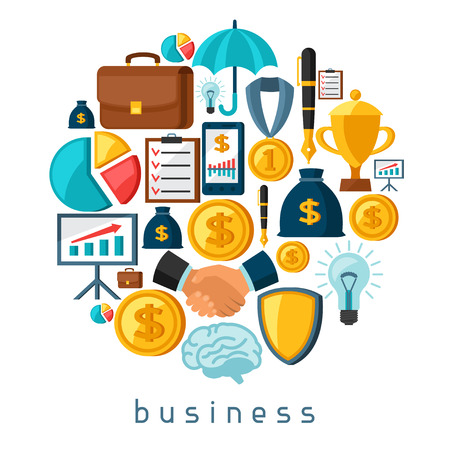 finance icons: Business and finance concept from flat icons in shape.
