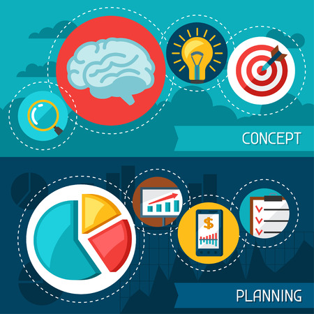 planificacion: Business finance banners of concept and planning.