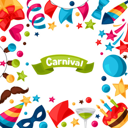 celebration party: Carnival show and party greeting card with celebration objects. Illustration