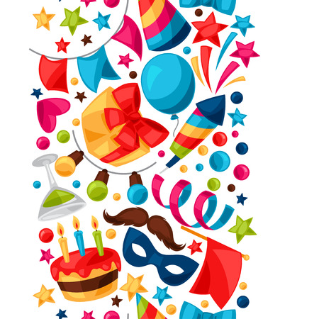 Carnival show and party seamless pattern with celebration objects.