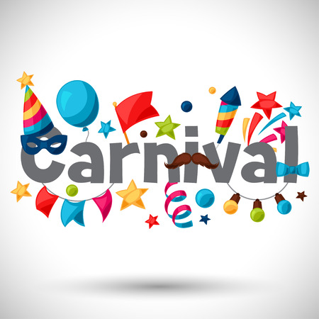 Carnival show and party greeting card with celebration objects. Иллюстрация