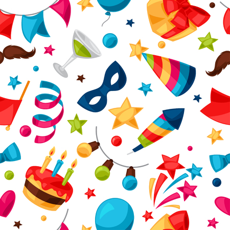 new years background: Carnival show and party seamless pattern with celebration objects.