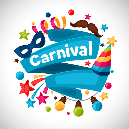 carnival border: Carnival show and party greeting card with celebration objects. Illustration