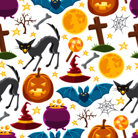 jack pot: Happy halloween seamless pattern with characters and objects. Illustration