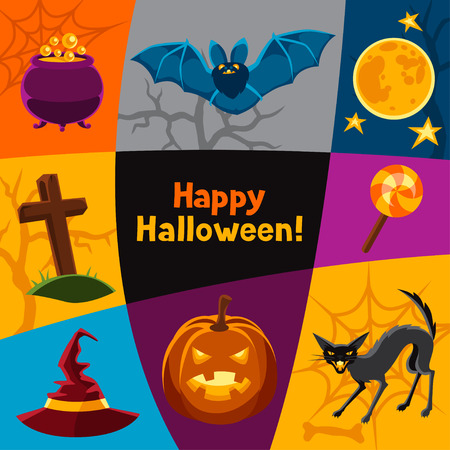 jack pot: Happy halloween greeting card with characters and objects.