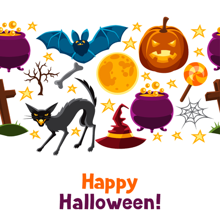 jack pot: Happy halloween seamless pattern with characters and objects. Vectores