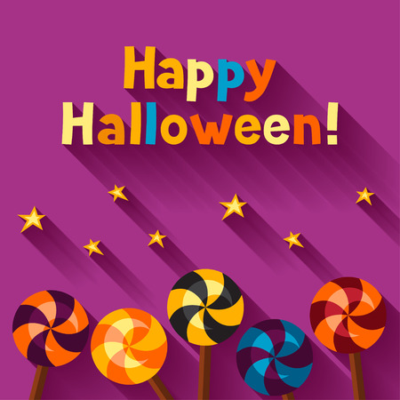 lolipop: Happy halloween greeting card with candy lolipop.