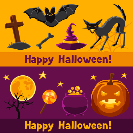 jack pot: Happy halloween banners with characters and objects.