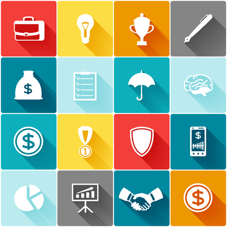 icons business: Set of business and finance flat icons.
