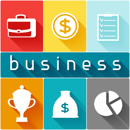 finance concept: Business and finance concept from flat icons in shape.