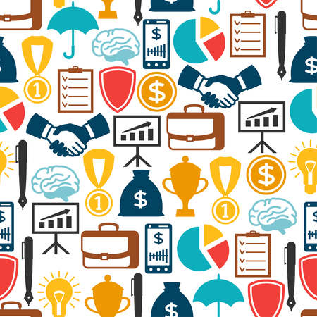 finance icons: Business and finance seamless pattern from flat icons.