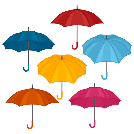 Set of abstract color umbrellas on white background. Vettoriali