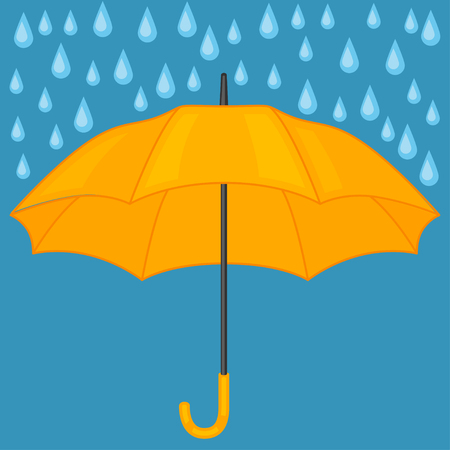 personal accessories: Abstract background with colored umbrella and rain drops. Illustration