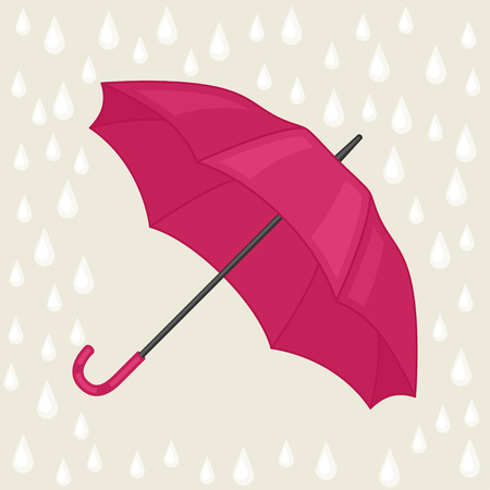 elementos de protecci�n personal: Abstract background with colored umbrella and rain drops. Vectores