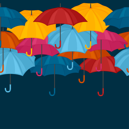 personal accessories: Seamless pattern with colored umbrellas for background design. Illustration