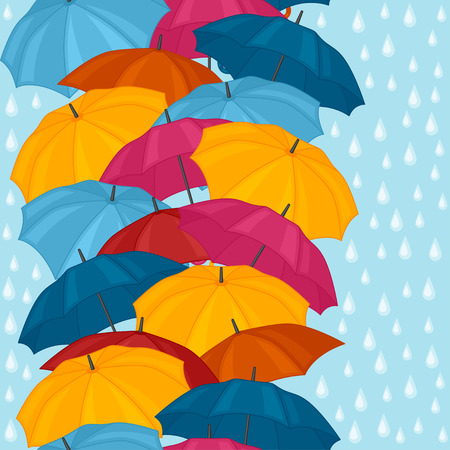 raining background: Seamless pattern with colored umbrellas for background design. Illustration