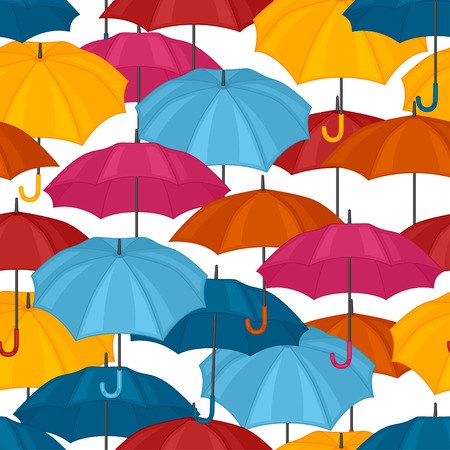 personal ornaments: Seamless pattern with colored umbrellas for background design. Illustration