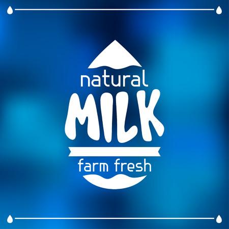 organic fluid: Milk emblem design on abstract mesh background.