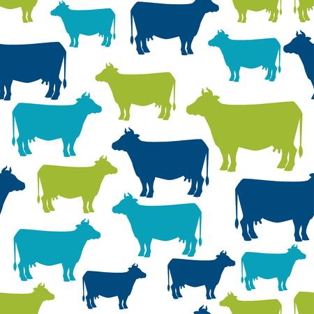 Koe silhouet naadloze patroon achtergrond voor design. Stock Illustratie