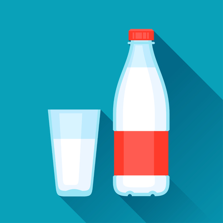 organic fluid: Illustration with bottle and glass of milk in flat design style.