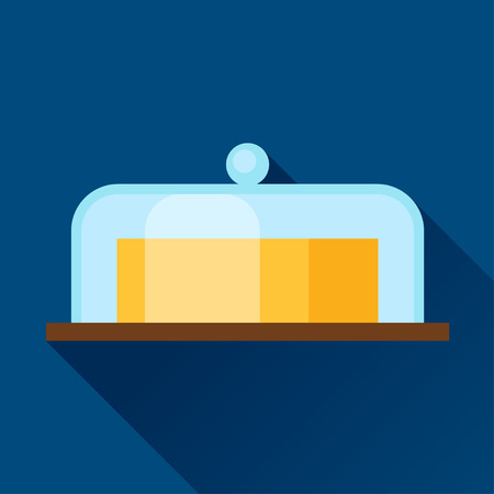 lard: Illustration with butter in flat design style.