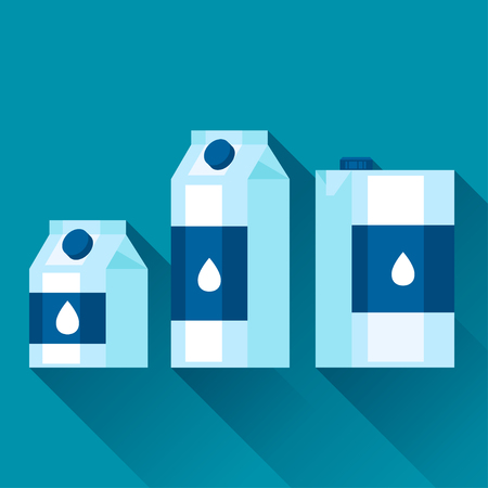 gallon: Illustration with packaging of milk in flat design style. Illustration