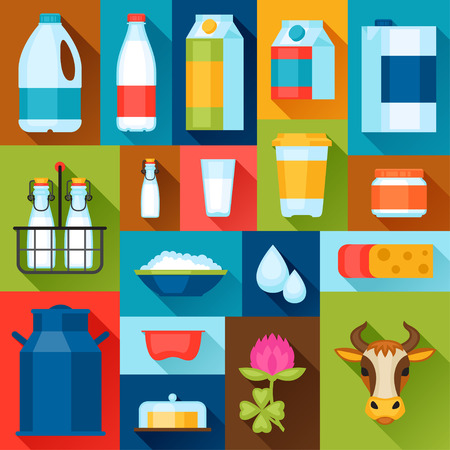 farm animals: Illustration with dairy products in flat design style. Illustration