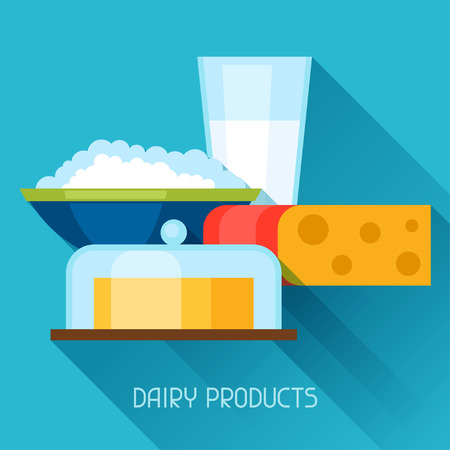 twarożek: Illustration with dairy products in flat design style. Ilustracja