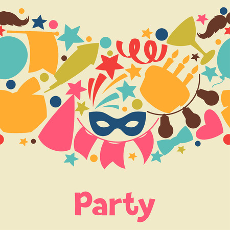 celebration party: Carnival show and party seamless pattern with celebration objects.