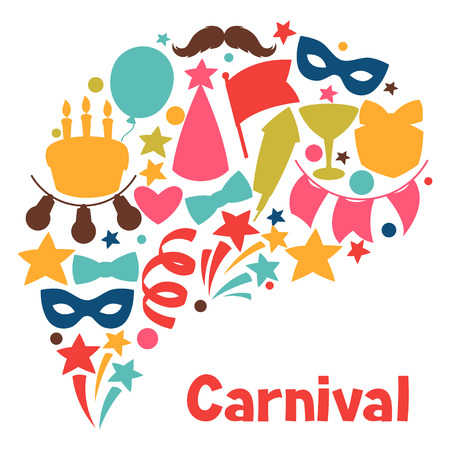 party background: Carnival show and party greeting card with celebration objects. Illustration