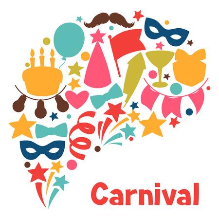 weihnachtskuchen: Karneval-Show und Party-Gru�karte mit Feier Objekte.