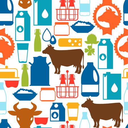 lacteos: Leche sin patrón con los productos lácteos y los objetos.