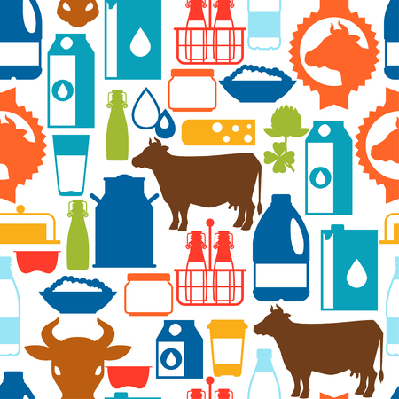 sour clover: Milk seamless pattern with dairy products and objects.