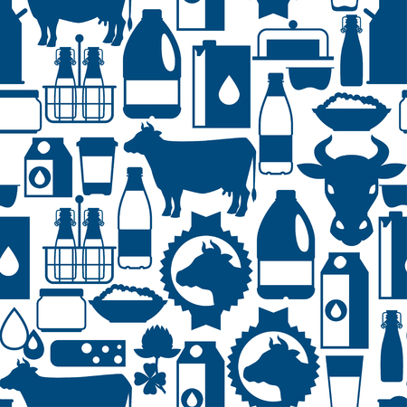 Milk seamless pattern with dairy products and objects.