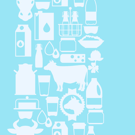 food and beverage: Milk seamless pattern with dairy products and objects.