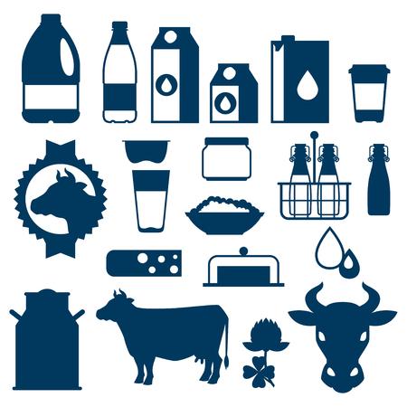 Conjunto de leche de los productos lácteos y los objetos.