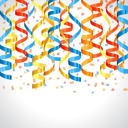 serpentinas: Celebración de diseño del carnaval de fondo con serpentinas de colores. Vectores