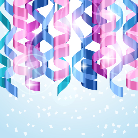streamers: Celebration carnival background design with colored streamers. Illustration