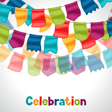 celebration card: Celebration holiday greeting card garland of flags. Illustration