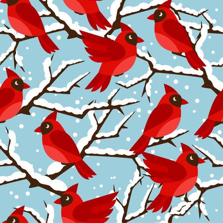snow cardinal: Happy holidays seamless pattern with birds red cardinal. Illustration