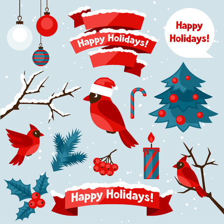 decorative objects: Set of happy holidays decorative elements and objects.