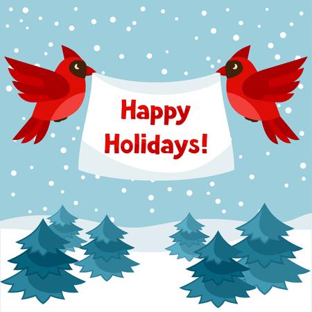 feestelijk: Gelukkige vakantie wenskaart met vogels rode kardinaal.