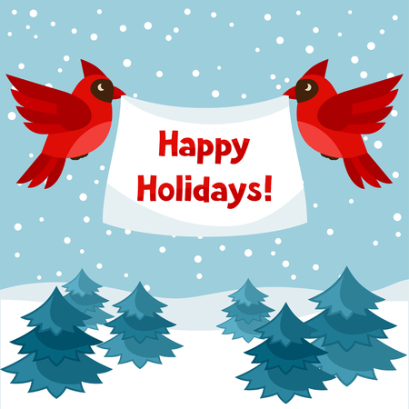 party animals: Happy holidays greeting card with birds red cardinal. Illustration